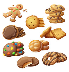 set delicious cookies cartoon vector image