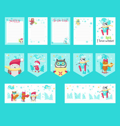 set of cards with cute skiing animals vector image