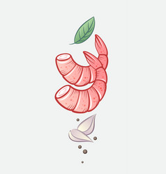 Shrimps spicy garlic basil leaves vector