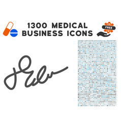 signature icon with 1300 medical business icons vector image