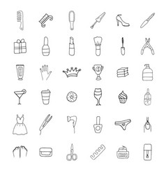 Simple set cosmetics related line icons vector