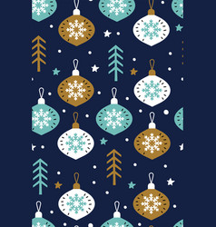 snowflakes with christmas glass balls vector image
