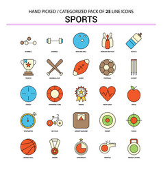 Sports flat line icon set - business concept vector