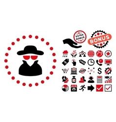 Spy Flat Icon with Bonus vector