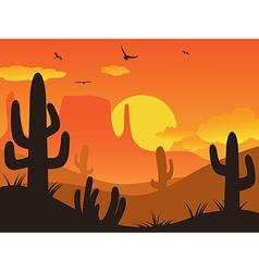 Sunset cactus desert vector