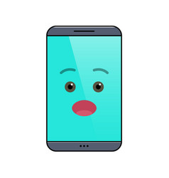 Surprised mobile phone isolated emoticon vector