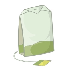 Teabag of green tea icon cartoon style vector