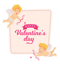 Valentines day card cute cupid angels flying vector