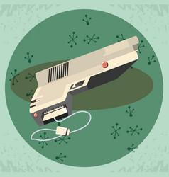 Video game retro with gun vector