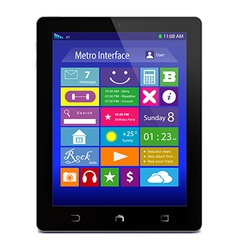 Black tablet PC with metro icons on display vector image vector image