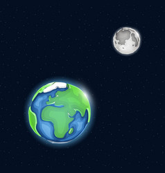 earth and moon system in space vector image