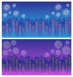 firework over sky in city night vector image