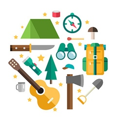 Icons and in Flat Design Style Tourists Equipment vector image