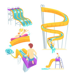 people having fun playing water slides set for vector image vector image
