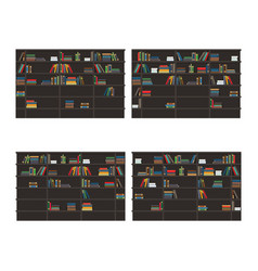 set of bookshelves filled with books flat vector image