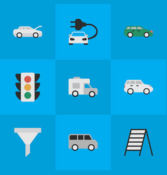 set of simple traffic icons elements traffic vector image