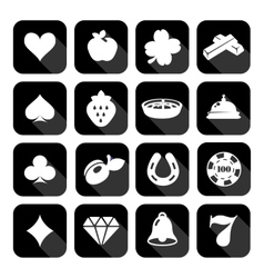 The set of flat casino icons vector image vector image