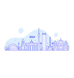 berlin skyline germany city buildings vector image