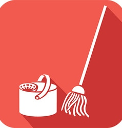 Bucket and Cleaning Mop Icon vector image