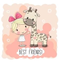 Cute Girl and Giraffe vector image