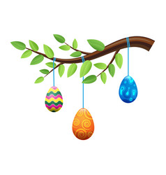 easter eggs on branch with leaves vector image vector image