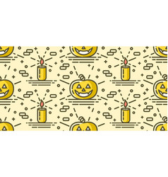 halloween seamless pattern with pumpkin and candle vector image vector image