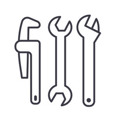 plumbing tools line icon sign vector image vector image