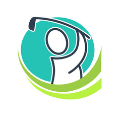 professional golf club emblem with cartoon player vector image