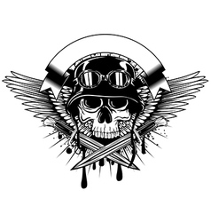 skull in helmet with goggles and crossed knives on vector image vector image