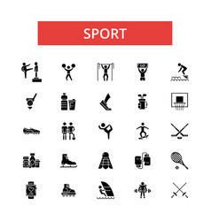 sport thin line icons linear flat vector image