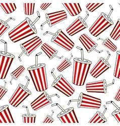 Takeaway cups of sweet soda seamless pattern vector