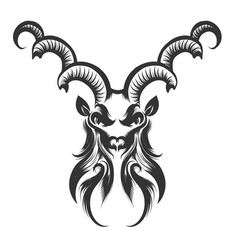 capricorn head engraving vector image vector image