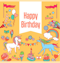 happy birthday card with unicorn strawberry cake vector image