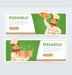 pizzeria banner template with italian chef vector image