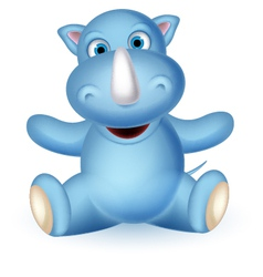 cute baby rhino cartoon sitting vector image vector image
