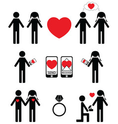 Falling in love and engagement icons vector image vector image