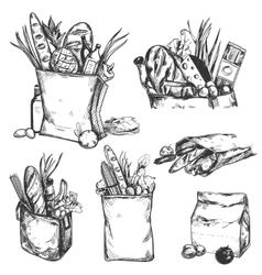 Hand Drawn Health Product Icon Set vector image