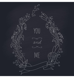 Hand drawn wedding wreath on chalkboard vector image
