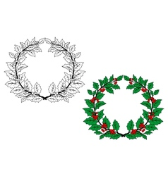 Holly christmas wreath vector image vector image