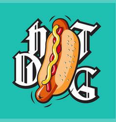 hot dog lettering vector image