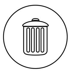 Monochrome contour circular frame with trash vector