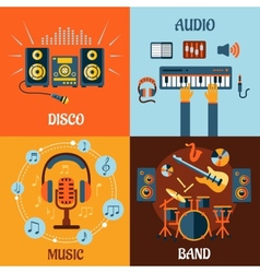 Music audio disco band flat icons vector image