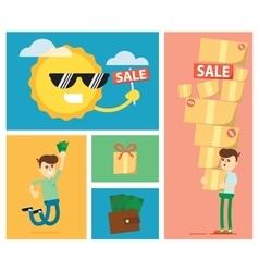 Set of discount sale vector image