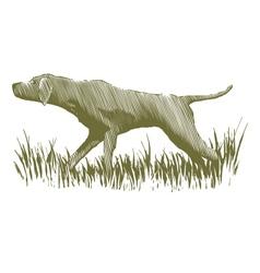 Woodcut Bird Dog vector image vector image
