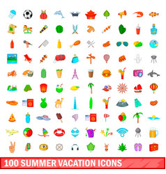 100 summer vacation icons set cartoon style vector image