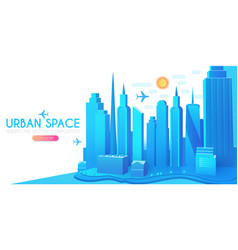 3d city concept urban background with vector