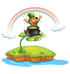 A man above clover plant with pot of coins vector
