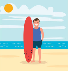 a surfer on beach with board young guy vector image