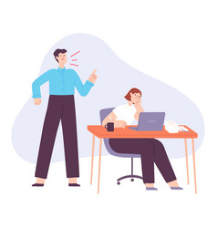 angry boss office manager yell at tired employee vector image
