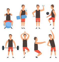 athletic sport man gym male fitness character vector image